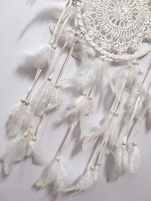 IVORY WHITE CROCHET DREAM CATCHER 16 CM WEB BOHO 57 CM TOTAL LENGTH