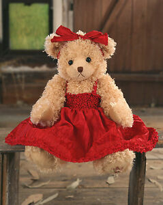 Teddy Bear 'Jasmine' Settler Bears Handmade Red Dress Collectable Gift 43cms NEW