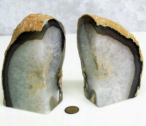 Juego-2-Genuino-Sujetalibros-de-Agata-Gris-Piedra-Volcanica-Roca-Blanco-Cuarzo