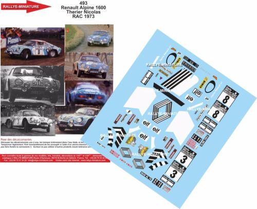 DECALS 1//24 REF 493 ALPINE RENAULT A110 THERIER RAC RALLY 1973 RALLYE WRC