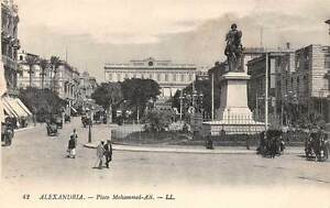Egypt-Alexandria-Place-Mohammed-Ali-Statue-Bourse-Exchange-cars-carriages