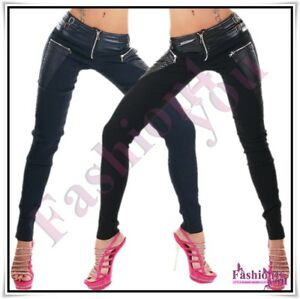 Sexy-Ladies-Faux-Leather-Trousers-Women-039-s-Skinny-Casual-Pants-Size-8-10-12-14-UK
