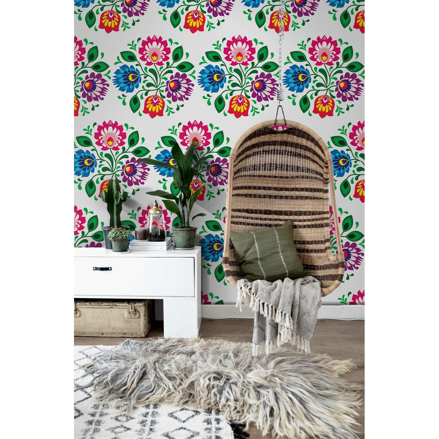Traditional floral self-adhesive colorful bluee and pink wall mural photo mural