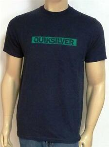 b3de4b41cfb Details about Quiksilver Reduction Tee Mens Navy Double Logo Organic Cotton  T-Shirt New NWT