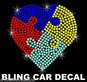 fbb96790661 Image is loading Autism-Puzzle-Heart-Awareness-Rhinestone-Bling-Car-Decal-