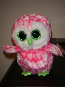 Ty-BUBBLY-the-6-034-Pink-Owl-Claire-039-s-Exclusive-Beanie-Boo-039-s-Boos-NEW-IN-HAND