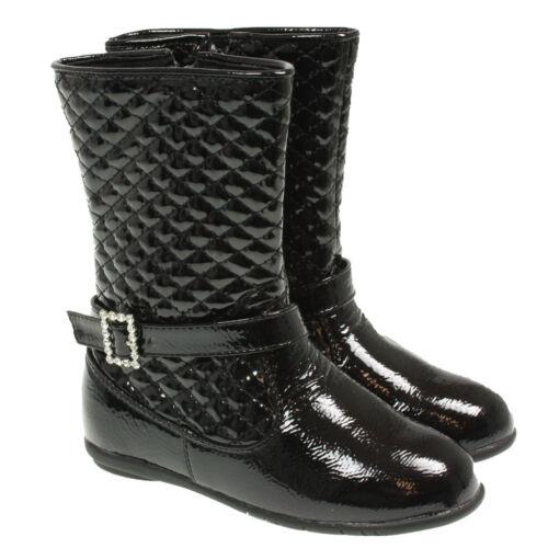filles enfants motif noir matelassé BOUCLE STRASS bottes
