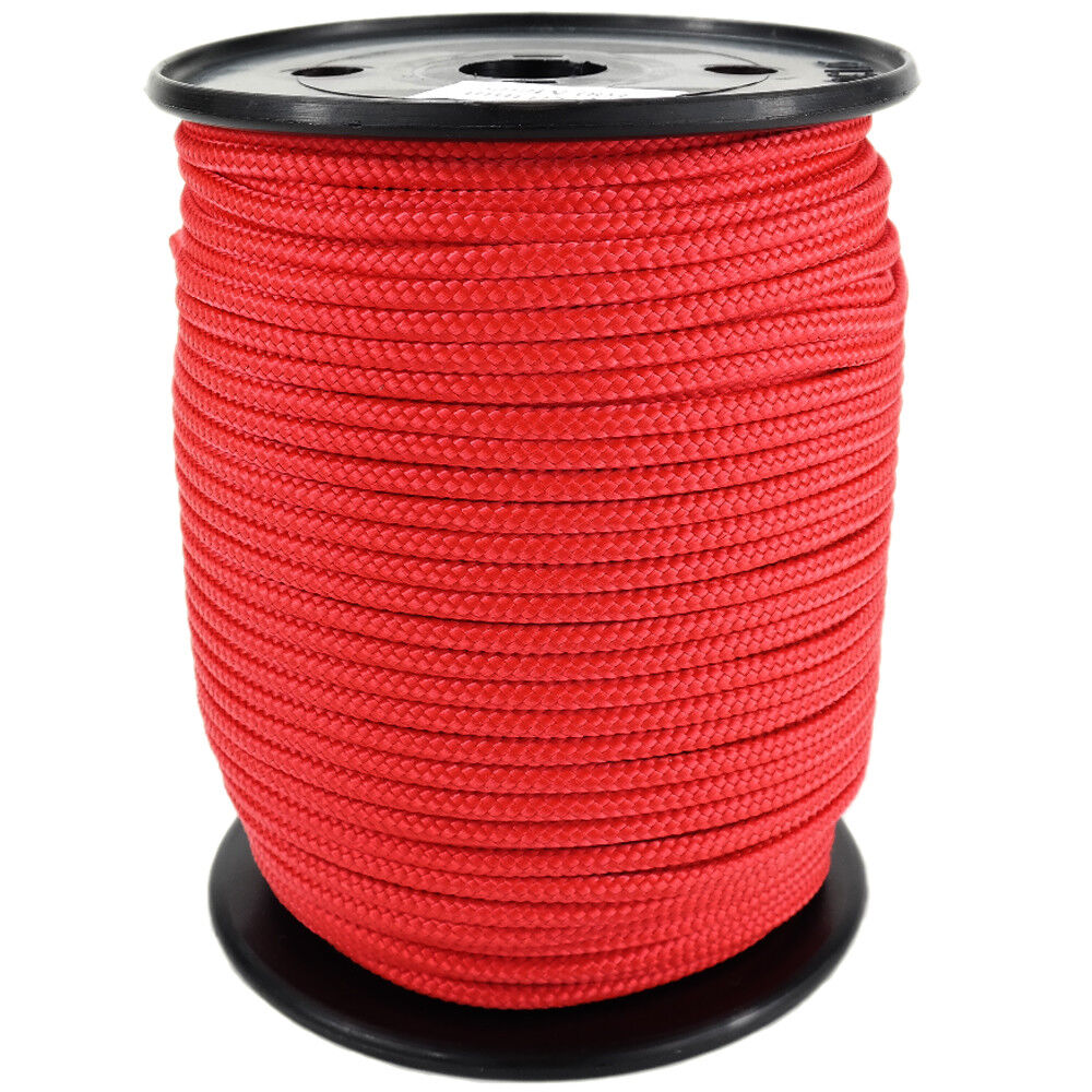 Polypropylene Rope PP 4mm 100m Red (0114) Braided