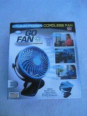 DESK OR CLIP GO FAN LITHIUM ION CORDLESS FAN RECHARGEABLE AS SEEN ON  TV