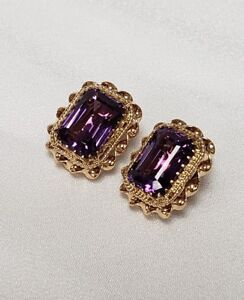 Image Is Loading Vintage Estate 18k Gold Amp Amethyst Clip On