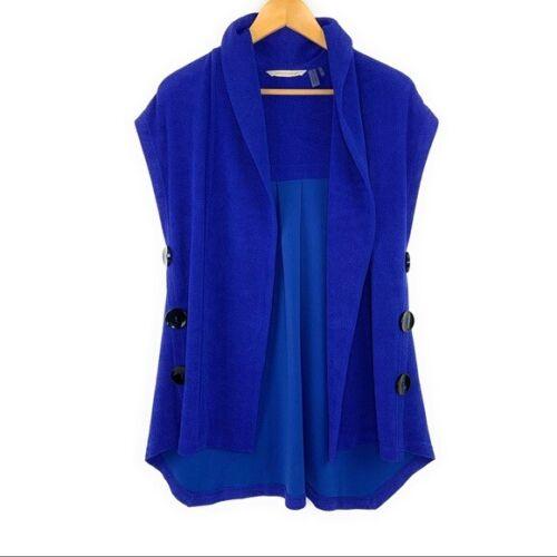 Small Petite Cobalt Blue Mesa Button Vest by Soft