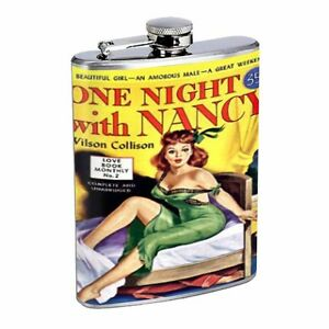 One Night With Nancy Pulp D442 Flask 8oz Stainless Steel On Bed Green Dress