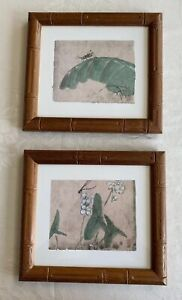 Pier-1-Imports-Wall-Art-Decor-Dragonfly-Grasshopper-Bamboo-Frame-Set-Of-2