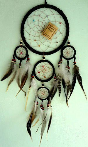 Black Handmade Native American Indian Dreamcatcher Feathers Suede Leather Medium