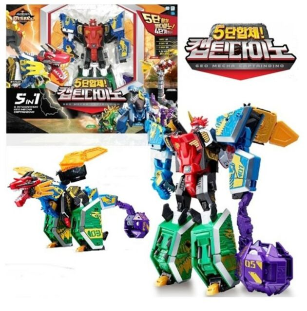 Geo Mecha Dinosaurs Transformation Robot CAPTAINDINO 5 in 1 Combine Robot Toy