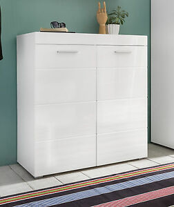 schuhschrank schuh kommode weiss hochglanz flur dielen schrank garderobe amanda 4251219728513 ebay. Black Bedroom Furniture Sets. Home Design Ideas