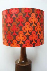 Original-70s-80s-Fabric-Lampshade-Retro-30cm-Drum-Red-Black-Brown-Abstract