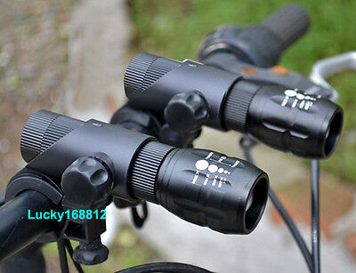 Cree Q5 LED Zoomable Bike Cycling Bicycle Head Light Front Flashlight Torch SET