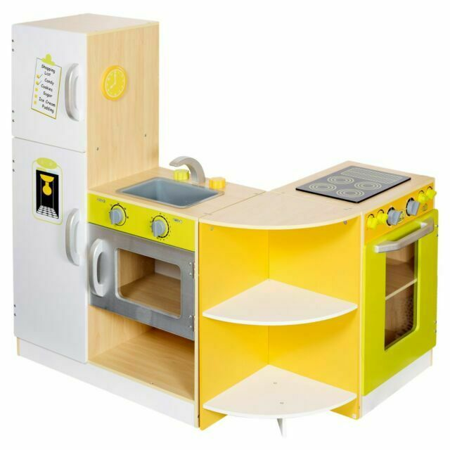 Kids Large Deluxe Modular Wooden Kitchen Set Pretend Role Play Toy Cooker Cook For Sale Online Ebay