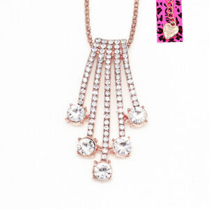 Betsey-Johnson-Women-039-s-Crystal-Rhinestone-Pendant-Sweater-Chain-Necklace-Gift