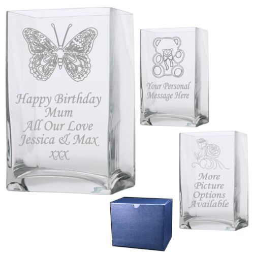 Engraved  Rectangle Vase 1 60th 70th 80th 90th 100th Birthday Gift Present