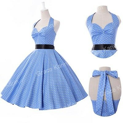 LADIES VINTAGE 50S 60S STYLE Polka Dot PARTY SWING PROM EVENING DRESS