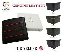 Designer J Wilson Genuine Mens Quality Real Leather Black Wallet Card Coin Gift