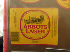 VINTAGE AUSTRALIAN BEER LABEL. CARLTON & UNITED - ABBOTS LAGER 750ML 13AL