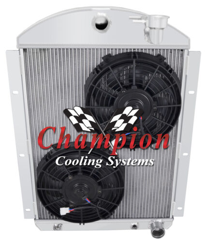 """3 Row BC Radiator W// 2 10/"""" Fans for 1941-1946 Chevy Truck Small Block V8 Eng"""