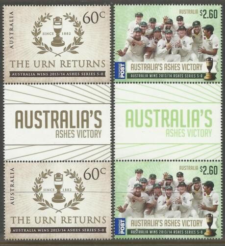 AUSTRALIA 2014 ASHES VICTORY THE URN RETURNS SERIES 50 GUTTER PAIRS MUH No 2