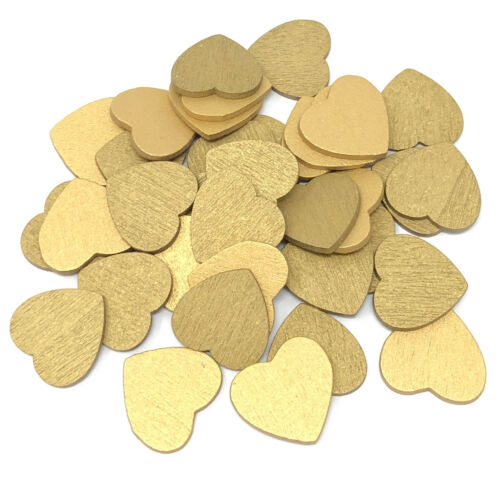 Gold 18mm Love Hearts Wooden Shabby Chic Craft Scrapbook Vintage Coloured Hearts