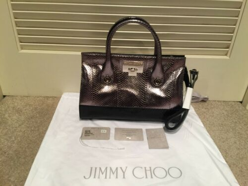 New Jimmy Choo Riley M Black And Steel Metallic Elaphe Leather Tote Satchel Bag by Jimmy Choo