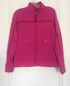 NIKE Womens Dri-Fit Hot Pink Full Zip Workout Running Jacket Size ... 5473d14a0