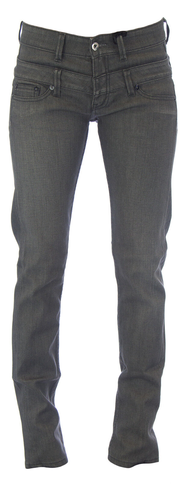 blueE BLOOD Women's Dark Grey Bartlett Double Waist Classic Rise Denim Jeans NEW