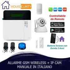 ALLARME ANTIFURTO GSM WIRELESS CASA KIT COMBINATORE GSM SENZA FILI PIU IP CAM