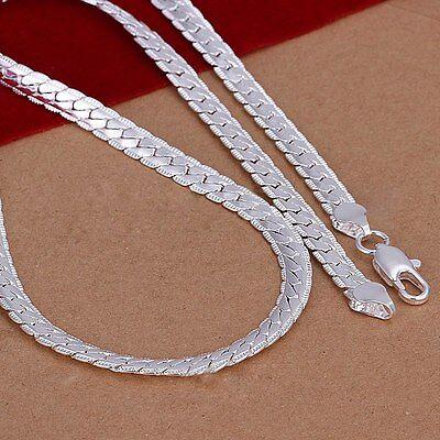 """Moda Mujer 5mm Collar Cadena de 925 Plata 20"""" Necklace"""