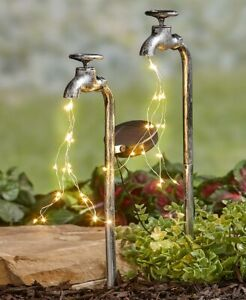 Set-of-2-Solar-Powered-Old-Time-Industrial-Water-Faucet-Lighted-Garden-Stake