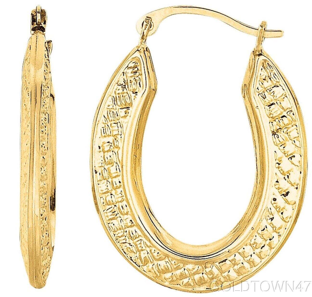 10kt Yellow gold Oval Shape Hoop Earring