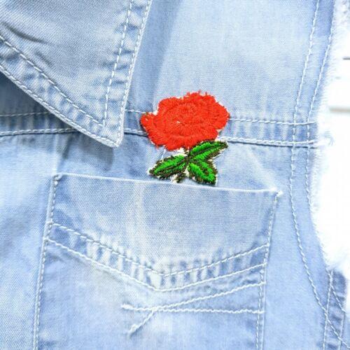 Girls Children Denim /& Chambray Hanky Summer Dress With Rose Applicate 3-11 year