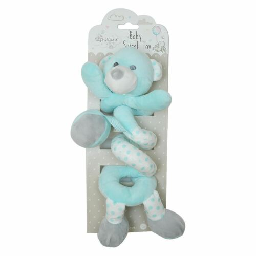 Hugs /& Kisses Baby Spiral Soft Plush Toy Rattle Mint Bear 29cm Crib Pram Car