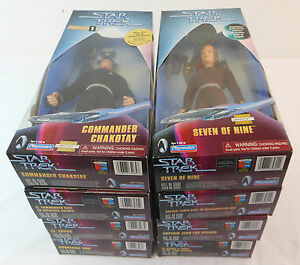 1997-1999-Playmates-STAR-TREK-Action-Figure-Lot-of-8-SEALED-Picard-Kirk-Data