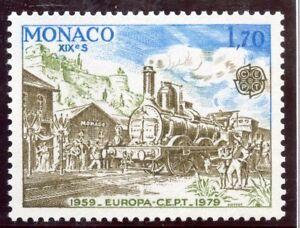 STAMP-TIMBRE-DE-MONACO-N-1188-TRAIN-LA-VOIE-FERREE-A-MONACO