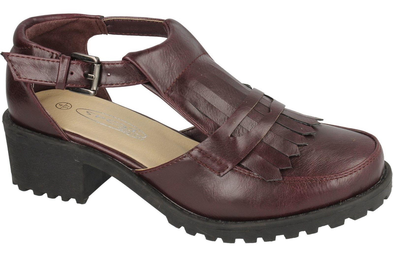 Spot on f9728 Damen Schuhe Weinrot Uk Größen 3 to 8 (R27B)