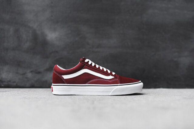 NEW Vans Vans Old Skool Skate Shoe Burgundy White Men's Sizes   eBay