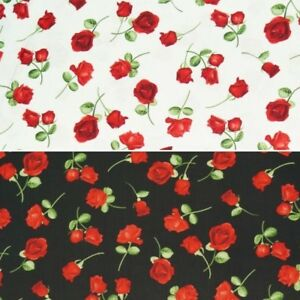 #GLAMOUR-C5048 Black Timeless Treasures 100/% Cotton Red Roses Fabric