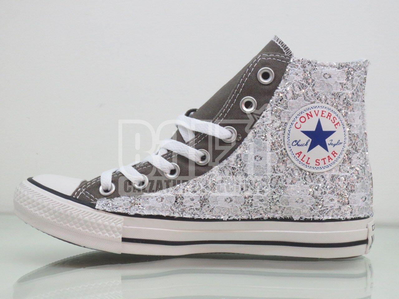 Converse all star grigio argento charcoal  pizzo + glitter argento grigio artigianali 9b9537