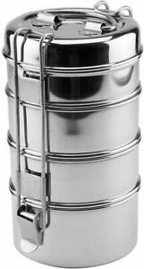 Lunch-Box-Stainless-Steel-4-Tier-Indian-Food-Container-Carrier-Round-Tiffin-Set