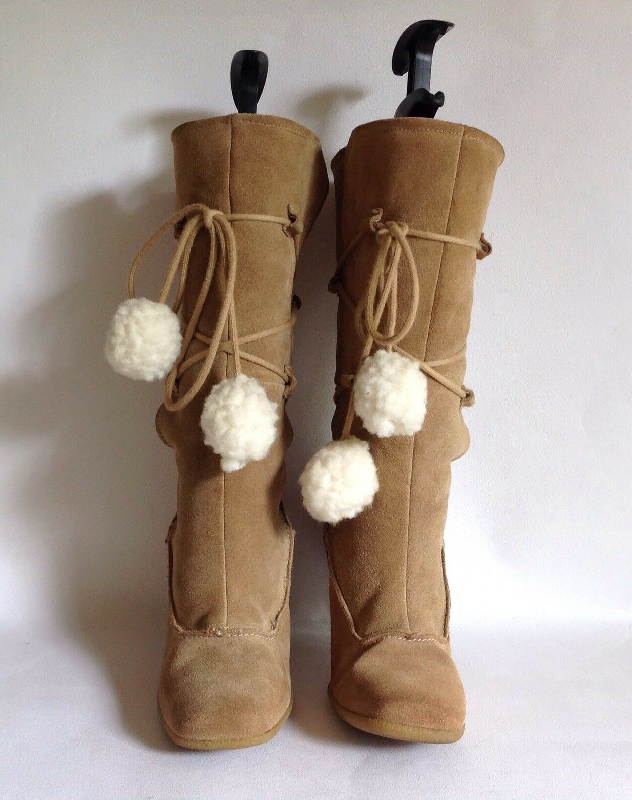New Look Buff Suede Faux Shearling Winter Lined 4.25