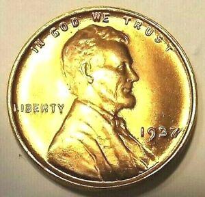 "1937-P Lincoln Wheat 1c""BRIGHT BLAZING""GEM+BU/RED from OBW roll.75cS&H"