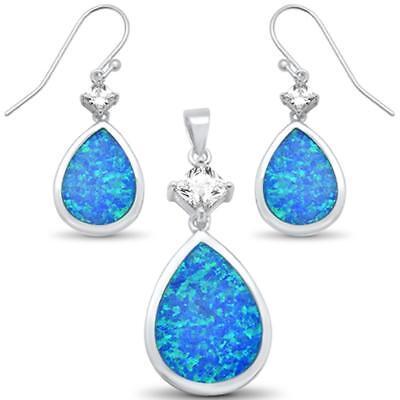 Blue Opal Pear Shape Dangling Earring /& Pendanr .925 Sterling Silver Set